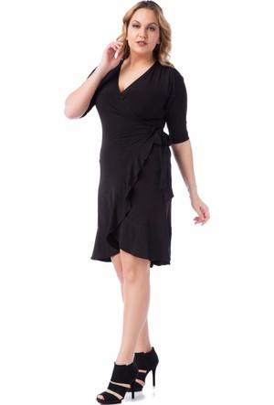 Francesca Ettore SF-1612 Siyah Büyük Beden Bayan Elbise