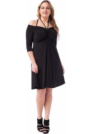 Francesca Ettore SF-1613 Siyah Büyük Beden Bayan Elbise