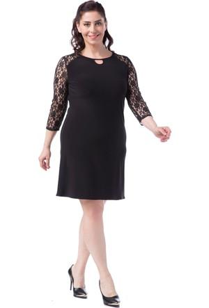 Francesca Ettore SF-1621 Siyah Büyük Beden Bayan Elbise