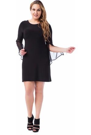 Francesca Ettore SF-1627 Siyah Büyük Beden Bayan Elbise