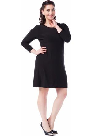 Francesca Ettore SF-1630 Siyah Büyük Beden Bayan Elbise