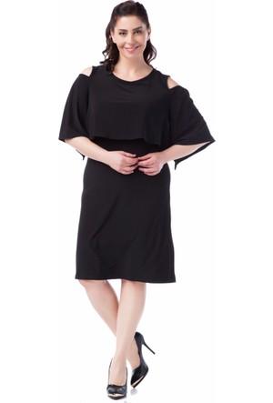 Francesca Ettore SF-1632 Siyah Büyük Beden Bayan Elbise