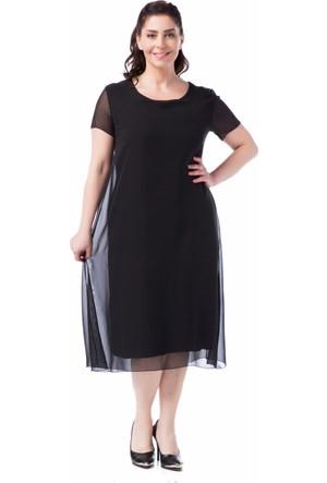 Francesca Ettore SF-1638 Siyah Büyük Beden Bayan Elbise