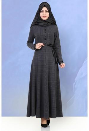 Beria Mevsimlik Kazayağı Desenli Elbise 5010 Antrasit