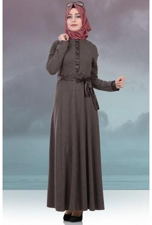 Beria Mevsimlik Kazayağı Desenli Elbise 5010 Kahve