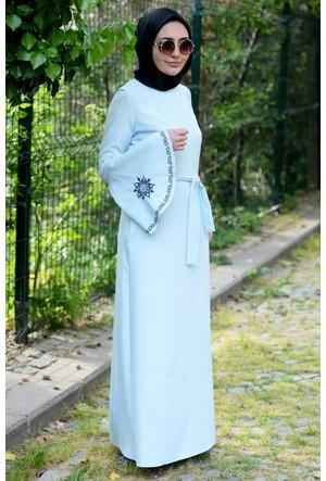 Hulle Kolu İşlemeli Volanlı Elbise E109 Mint