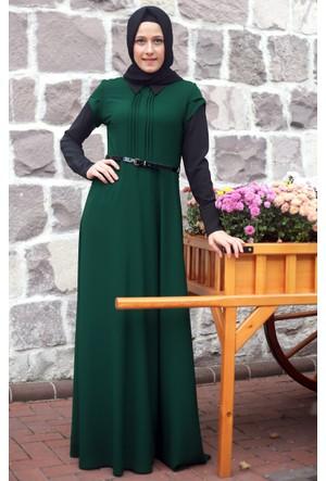 Mislina Mevsimlik Gömlek Yakalı Elbise 16K3511 Yeşil