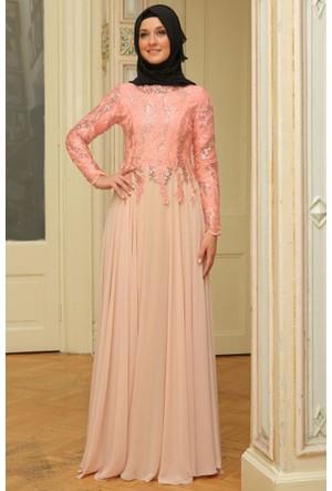 Mislina Üstü Pullu Eteği Şifon Elbise 15Y3417 Somon