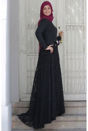 Mislina Yakma Düz Kombin Elbise 15Y3455 Siyah