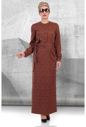 Mustafa Dikmen Mevsimlik Jakarlı Elbise 179000 Kahve