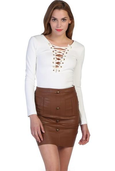 Bonalodi Kahve Etek Çapraz Göğüs Dekolte Beyaz Bluz 2'Li Kadın Set