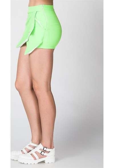 Bonalodi Neon Yeşil Zarf Kadın Şort Etek