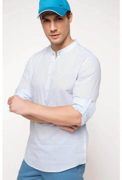 DeFacto Erkek Slim Fit Vual Gömlek Açık Mavi