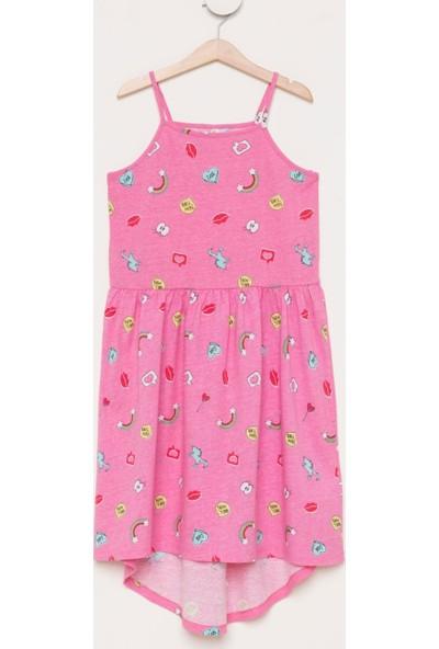DeFacto Kız Çocuk Baskılı Sıfır Kol Elbise Pembe