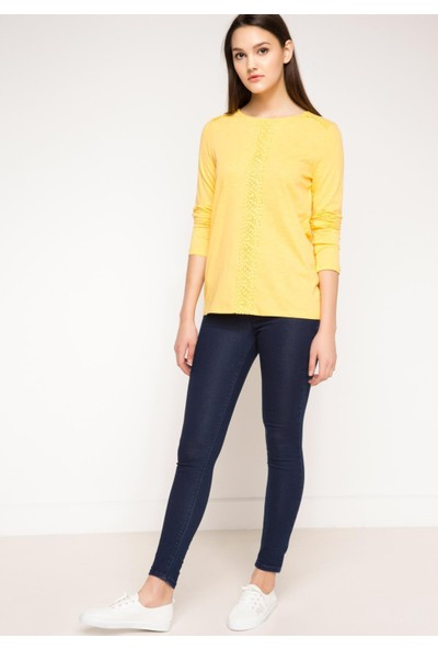 DeFacto Kadın Dantel Detaylı Sweatshirt Sarı