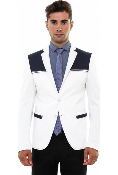 Wessi İki Düğme Ön Çizgi İşlemeli Penye Ceket