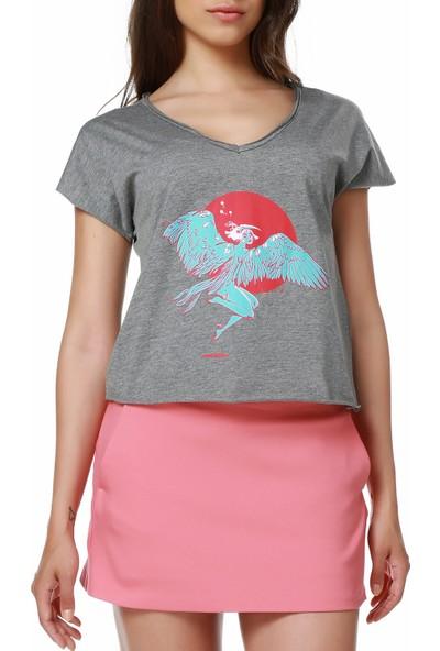 Mumu Wings - Zeynep Özatalay Koyu Gri Kadın T-Shirt