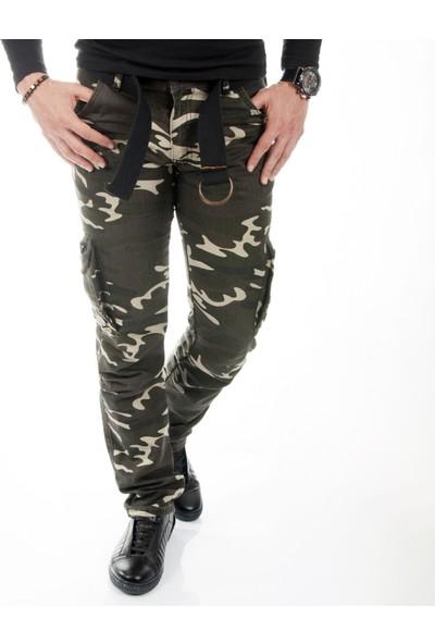 Deepsea Koyu Yeşil-Bej Yıkamalı Dar Kesim Askeri Erkek Kamuflaj Pantolon 1601194-241