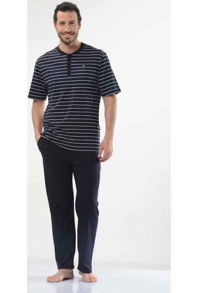Cacharel 2107 Çizgili Patlı Kısa Kol %100 Pamuk Erkek Pijama Takımı