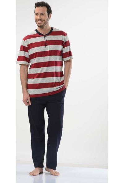 Cacharel 2128 Çizgili Patlı 3'lü %100 Pamuk Erkek Pijama Takımı