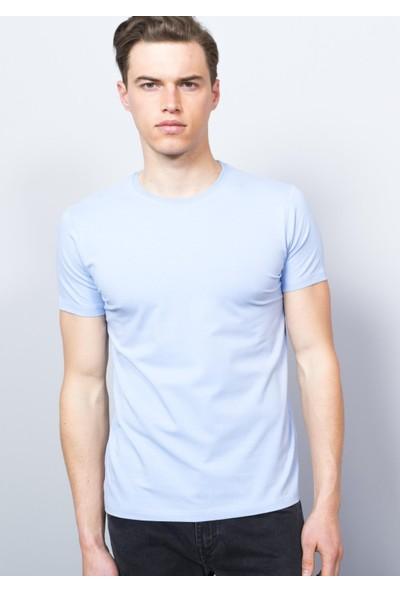 Adze Erkek Açık Mavi Bisiklet Yaka T-Shirt