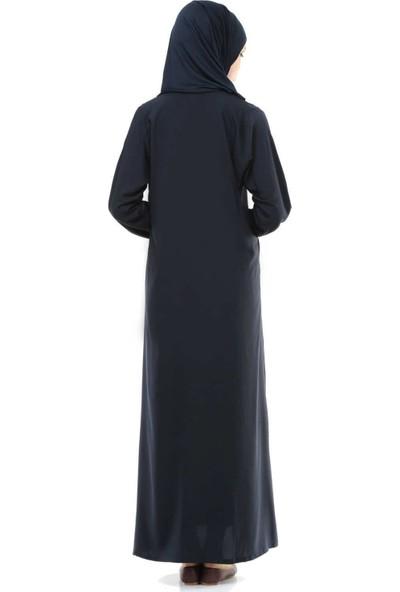 İHVAN 5008-2 Lacivert Pratik, Kendinden Örtülü Namaz Elbisesi - L