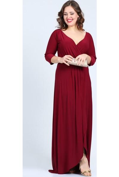 Angelino Butik Kl56 Bordo Abiye Elbise