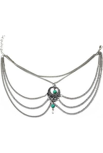 VipBT ArielTurkuaz Boncuklu Ayak Şahmeranı Antik Gümüş Rengi