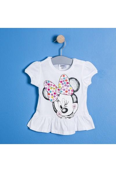 Soobe Lisanslı Disney Minnie Mouse Kısa Kol Eteği Fırfırlı T-Shirt Beyaz