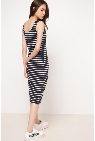 DeFacto Kadın Çizgili Uzun Elbise Lacivert