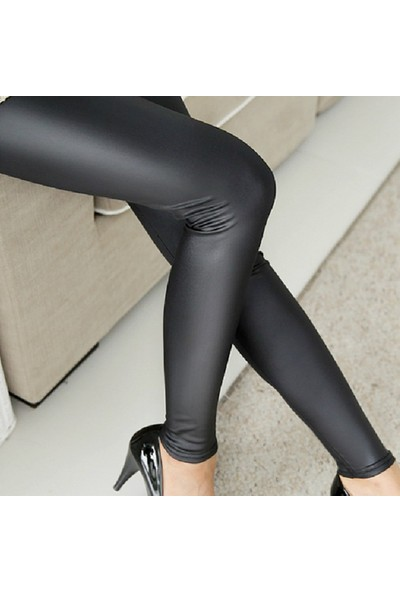 Enimon Siyah Deri Tayt Pantolon
