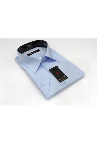 Dicotto Açık Mavi Büyük Beden Kısa Kol Düz Renk Klasik Erkek Gömlek - 500-3