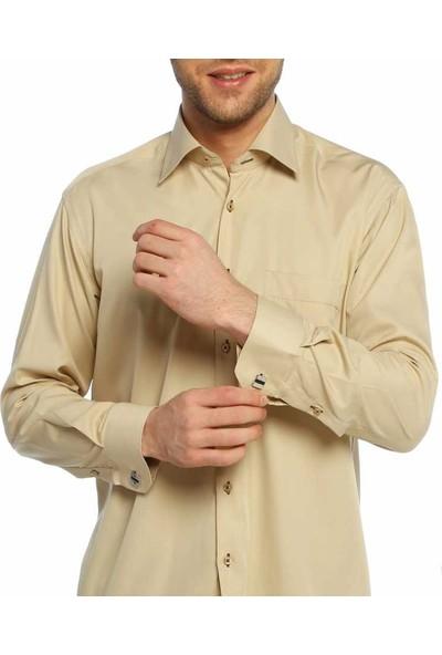 Dicotto Bej Klasik Kesim Micro Kumaş Kol Düğmeli Erkek Gömlek - 190-15