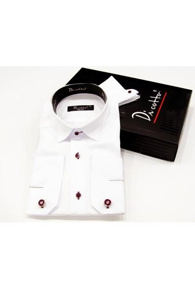 Dicotto Bordo Taş Düğmeli Beyaz Ata Yaka Kol Düğmeli Slim Fit Gömlek - Smokin-015-Beyaz