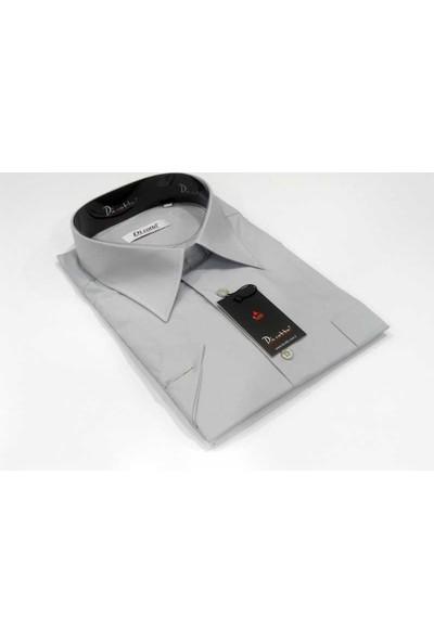 Dicotto Gri Büyük Beden Kısa Kol Düz Renk Klasik Erkek Gömlek - 500-2