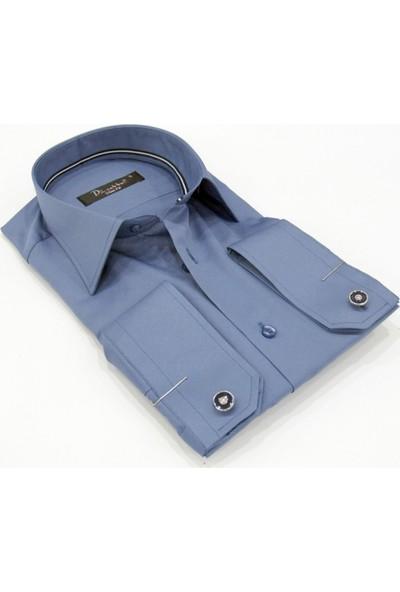Dicotto İndigo Micro Kumaş Kol Düğmeli Slim Fit Düz Renk Gömlek - 201-5