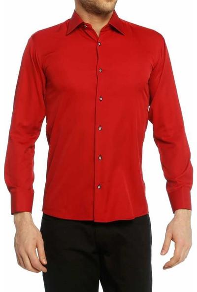 Dicotto Kırmızı Micro Kumaş Kol Düğmeli Slim Fit Düz Renk Gömlek - 201-8