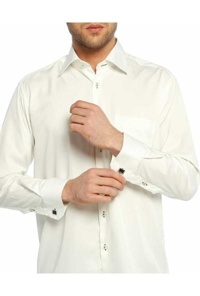 Dicotto Krem Klasik Kesim Micro Kumaş Kol Düğmeli Erkek Gömlek - 190-10