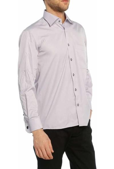 Dicotto Lila Klasik Kesim Micro Kumaş Kol Düğmeli Erkek Gömlek - 190-3