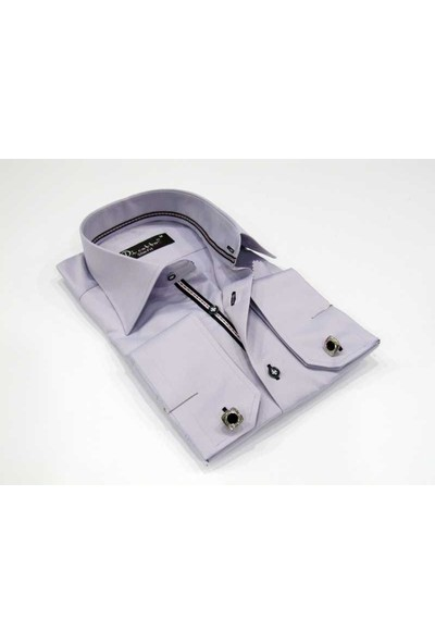 Dicotto Lila Micro Kumaş Kol Düğmeli Slim Fit Düz Renk Gömlek - 201-3