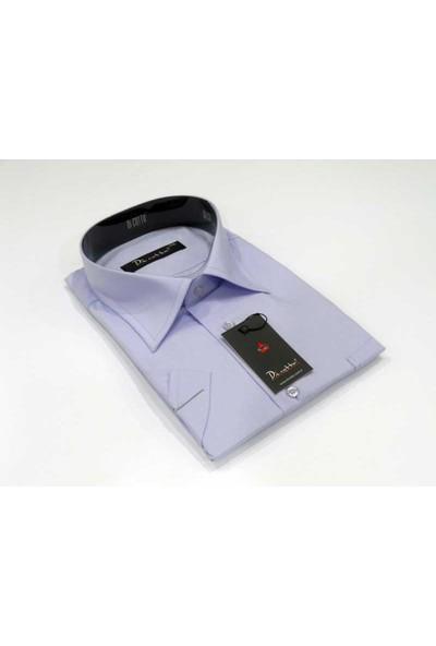 Dicotto Lila Büyük Beden Kısa Kol Düz Renk Klasik Erkek Gömlek - 500-6