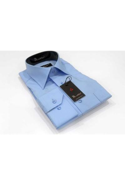 Dicotto Mavi Klasik Kesim Uzun Kol Düz Renk Erkek Gömlek - 150-5
