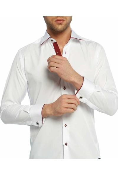 Dicotto Micro Kumaş Kol Düğmeli Slim Fit Beyaz Erkek Gömlek - 216-3