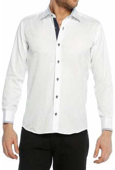 Dicotto Micro Kumaş Kol Düğmeli Slim Fit Beyaz Gömlek - 200-3