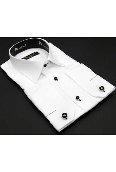 Dicotto Micro Kumaş Kol Düğmeli Slim Fit Düz Beyaz Gömlek - 220-1