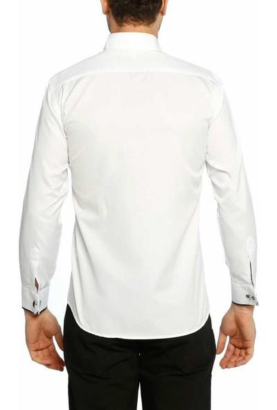 Dicotto Siyah Bieli Beyaz Ata Yaka Kol Düğmeli Slim Fit Smokin Gömlek - 003-Beyaz
