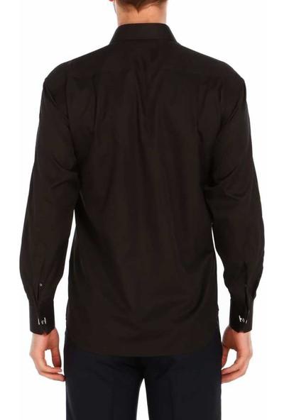 Dicotto Siyah Klasik Kesim Micro Kumaş Kol Düğmeli Erkek Gömlek - 190-6