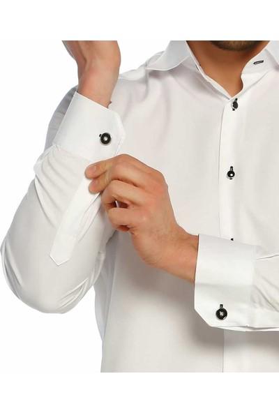 Dicotto Siyah Taş Düğmeli Beyaz Ata Yaka Kol Düğmeli Slim Fit Gömlek - Smokin-006-Beyaz
