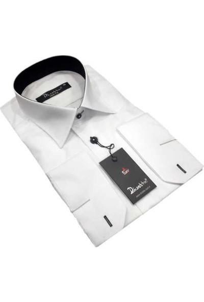 Dicotto Yaka İçi Siyah Renk Slim Fit Uzun Kol Erkek Gömlek -152-1-Beyaz