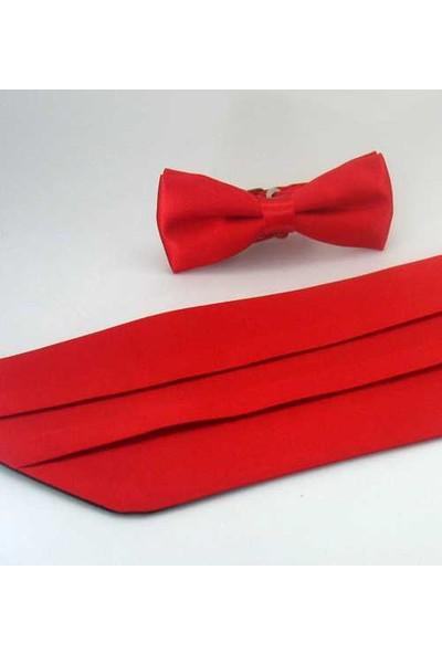 GaffyKırmızı Çocuk Boy Düz Renk Saten Kuşak-Papyon Takim - Ckp-03